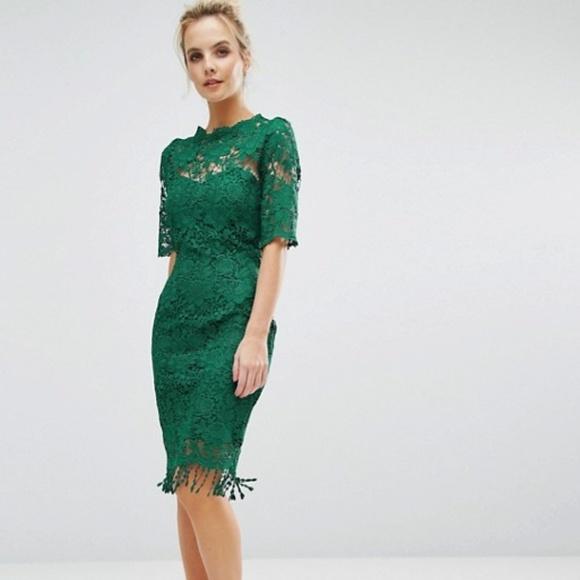 Asos Paper Dolls Green Crochet Lace Dress